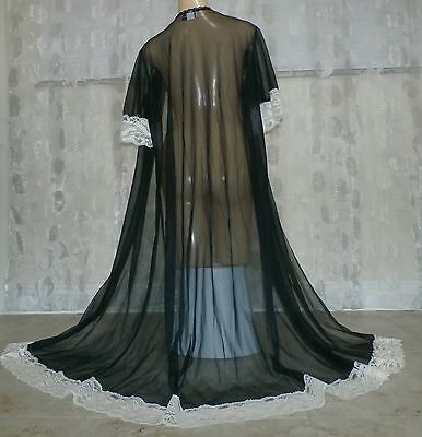 Vintage Black Extra Lacy Sheer  Nylon Peignoir / Robe ---Large-Bust To 40""