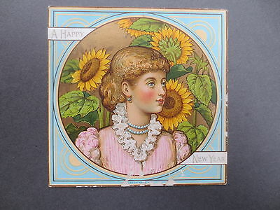 Antique NEW YEAR Card Marcus Ward Girl & Sunflowers Victorian Chromo Litho