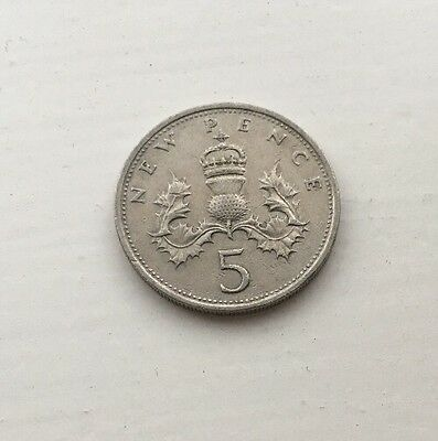 Old 5p Coin 1970