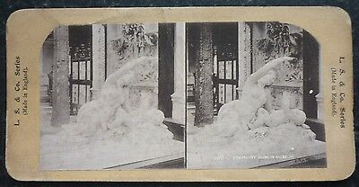 Stereoview Nice Early Image Of Statuary Dublin Museum Card No 106