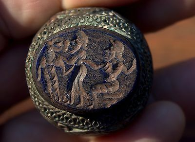 Large Very Old Lapis Stone Intaglio In Ornate Bronze Ring