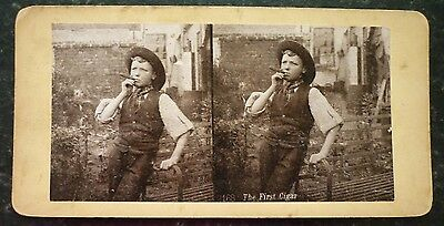 """Stereoview Nice Early Comic Image Boy In Garden """" The First Cigar """" Card No 2168"""