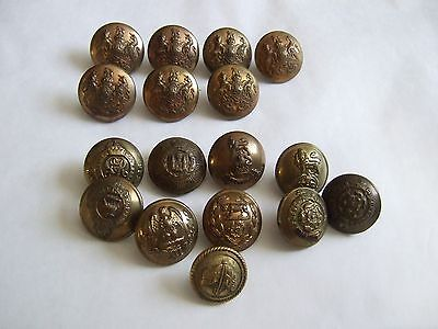 Collection of vintage brass military buttons