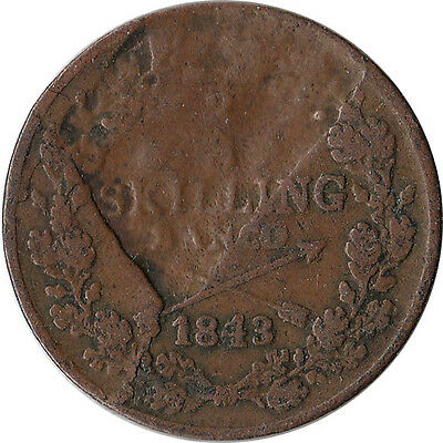 1843 Sweden 2/3 Skilling Major Mint Error Coin KM#641