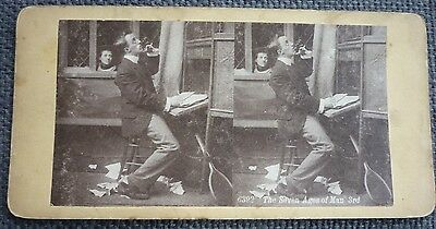"""Stereoview Early Image Of Lady Watching Gent. """" The Seven Ages Of Man 3rd """" 6392"""