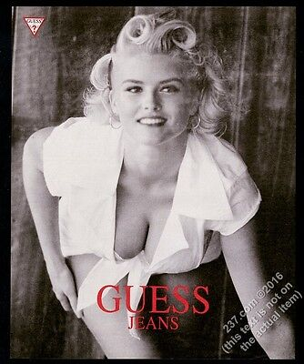 1992 Anna Nicole Smith busty photo Guess Jeans vintage fashion print ad