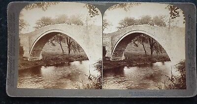 Stereoview Nice Early 1896 Image The Auld Brig O Doon Scotland