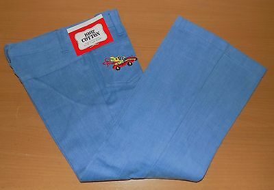 "VINTAGE 1970's UNISEX DENIM RABBIT RACECAR EMBROIDERED FLARED JEANS 24"" WAIST"
