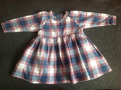 Mothercare Girls Checked 100% Cotton Dress Size 0-3 Months Good Condition