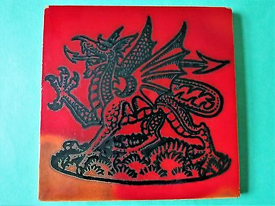 RYE POTTERY   Red Welsh Dragon Tile  Prince of Wales 1969
