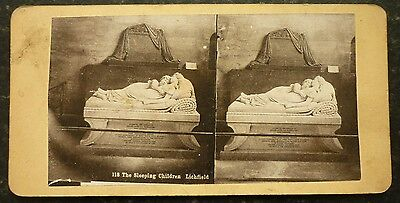Stereoview Early Image Sculpture The Sleeping Children Lichfield Card No 118