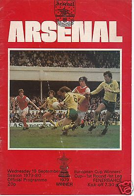 Arsenal V Fenerbahce  European Cup Winners Cup   19/9/79
