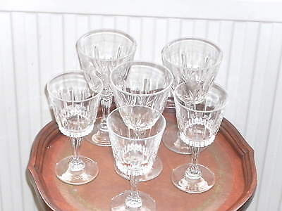"""Six Cut Glass/crystal French Wine Glasses 3 X 6"""" +3 X  6.1/2"""" Height"""