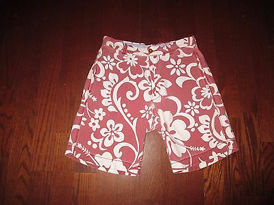 J.CREW mens SZ 30 red/white floral print REGULAR FIT flat front shorts
