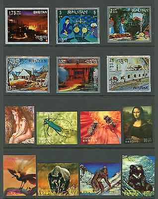 Beautiful 3D Bhutan Stamp Collection  -  34 Scarce Items inc. Airmails & Foils
