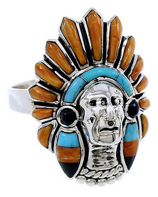 Multicolor Inlay Silver Chief Head Ring Size 8-1/4 NS43165