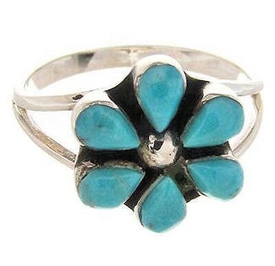 Southwestern Sterling Silver Turquoise Flower Ring Size 5-1/2 PS62702