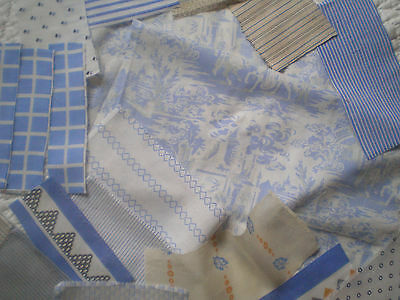 18 Assorted Blues Antique/Vintage Re-claimed Fabric Pieces.