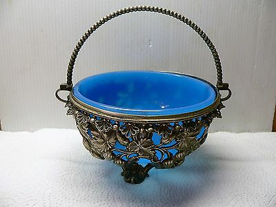 Turquoise Blue Glass & Silver Metal Strawberry - Sugar Basket / Bowl  - Vintage