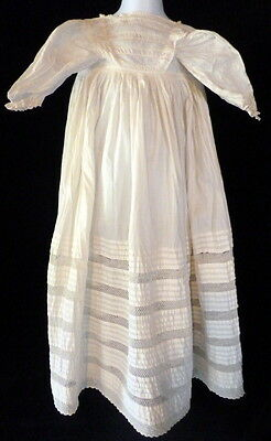 Mid 1800s Victorian Embroidered Lace White Linen LONG Baby Christening Dress 33""