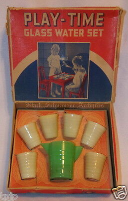 RARE Vintage 7 Piece Akro Agate Play-Time ~WATER SET~ in Orig Box Green & Yellow