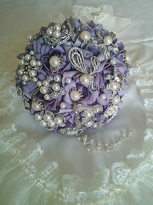 Vintage Style Wedding Bridal Brooch Bouquet Mauve Roses Crystal Faux Pearl