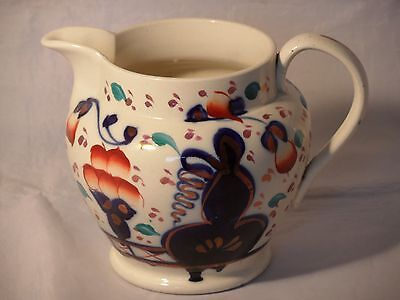 Antique Victorian Hand Painted Gaudy Welsh Pottery Jug Oyster Pattern 12cms High