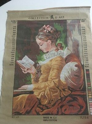 DMC Tapestry canvas Collection D'Art 117 / 486 Lady Reading 33.5cm X 47cm