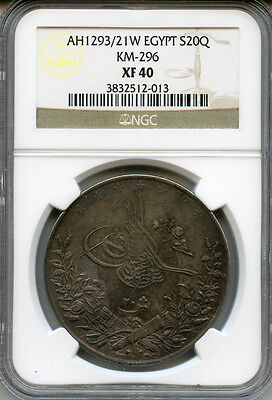 Egypt Ah1293/21W (1895) Issue 20 Qirsh Silver Crown Scarce Date,toned Ngc-Xf-40.
