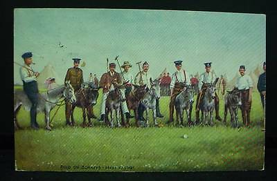 Tuck's Postcard Pre WWI Polo on Donkeys Ready To Start  Volunteer Life Series