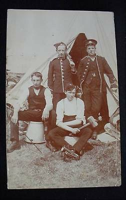 Pre WW1 Real Photo Postcard Cancel Soldiers at Rest With Hammers Mallets