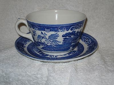 ADDERLEY WARE blue & white OLD WILLOW  pattern very large cup and saucer