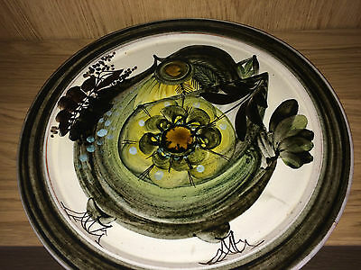Large Hand Painted Signed Studio Pottery Plate With Leaves & Flower Decoration