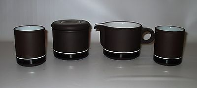 Hornsea Contrast Lidded Sugar Creamer Small Jars Brown White Vitramic England