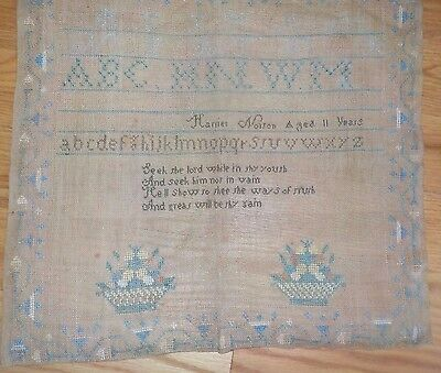 19th c ALPHABET SAMPLER BY Harriet Norton VT  AGED 11 flower basket Seek Lord