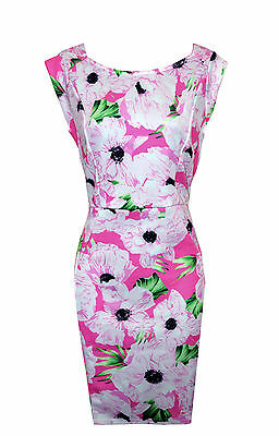 NEW Size 10 PINK FLORAL PRINT WIGGLE DRESS BNWT