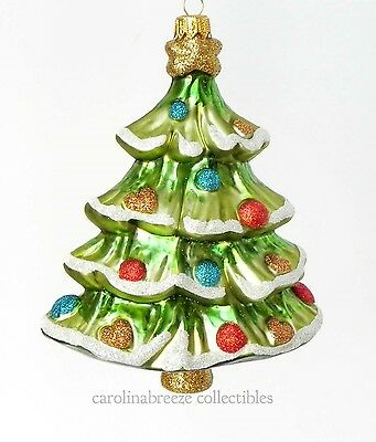 Christmas Tree With Glitter Ornaments Blown Glass Ornament Koronex Poland