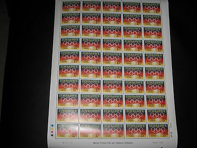 Zimbabwe 1980 Moscow Olympic Games SG596  Sheet of 50 mnh stamps Plate 1A #2