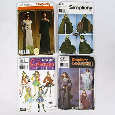 Lot 4 New Adult Costume Sewing Patterns Simplicity 5794 4055 9891 3685 Renaissan