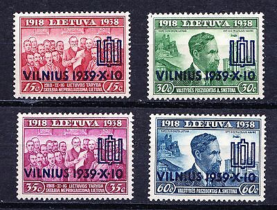 Lithuania 1939 Recovery of Vilnius Overprints - Mint hinged set of 4 - (46)
