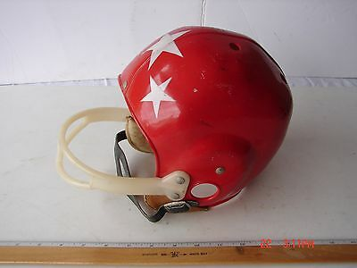 Vintage Childs Red Stars Football Helmet Plastic With Chin Strap Marked M
