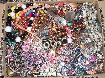 Jewelry Junk Lot 19+lbs Salvage Parts Craft Repair Rhinestones Necklaces Beads