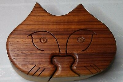 Collectible Cat Head 4 Piece Wooden Puzzle Jewelry Trinket Box