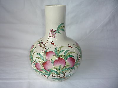 Antique Chinese Porcelain Hand Painted Peaches with Pattern Vase - Marks