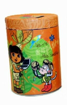 Dora the Explorer Large Round Illustrated Tin Coin Bank Style A, NEW UNUSED