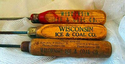Vintage Wisconsin Ice & Coal Ice Picks 3  Advertising Different Designs