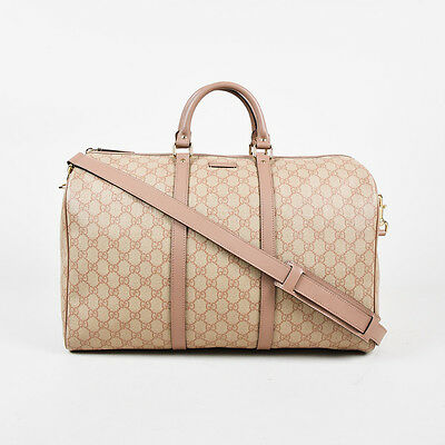 """Gucci Blush Pink """"GG Supreme"""" Coated Canvas """"Medium Carry On Duffle"""" Bag"""