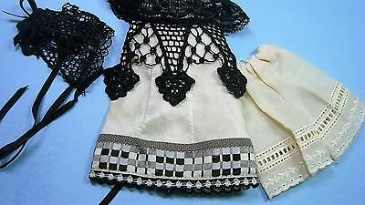 """Silk Dress With Antique Fabric And Trim To Fit Cathy Hansen 7""""  All Bisque Doll"""