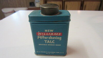 Vintage New Williams Aftershaving Talc, Invisible Bronze Shade Tin, 3 oz.