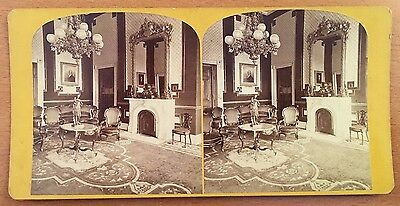 c1870 WHITE HOUSE GREEN ROOM Washington, DC STEREOVIEW Antique Photography